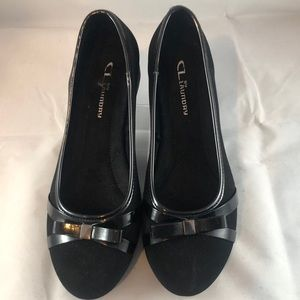 CL by Laundry Women's Wedge Slip-on Black Shoes 8W